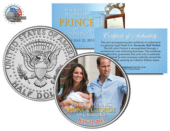 Royal Baby Prince George of Cambridge Baby and Proud Parents JFK Half Dollar