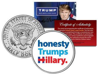 Honesty Trumps Hillary Colorized JFK Half Dollar