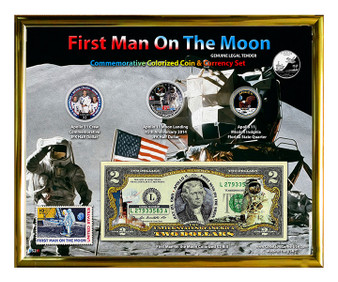"""First Man On The Moon Colorized Coin & Currency Set & 1969 First Man on the Moon Stamp in 8"""" x 10"""" Frame"""