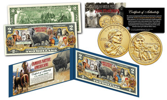 Famous Native Americans Buffalo Bison Colorized $2 Bill with Jim Thorpe Sacagawea $1 Coin
