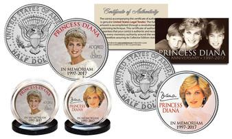 "Princess Diana 20th Anniversary ""Crown"" JFK Half Dollar 2 Coin Set"