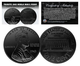 Lot of 3 1943 TRIBUTE Steelie WWII Steel Pennies Clad in Black Ruthenium