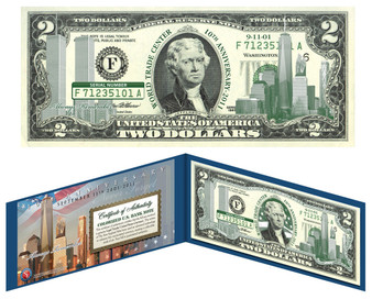 10th Anniversary 9/11 Emerald Green $2 Bill