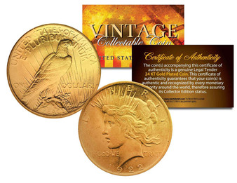24K Gold Plated Silver 1920's Peace Dollar in Case
