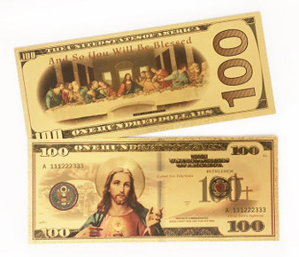 Jesus The Last Supper Gold Novelty $100 Bill