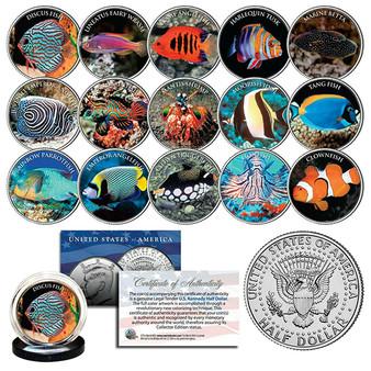 Saltwater Fish Aquarium Tank Colorized JFK Half Dollar Complete 15 Coin Set