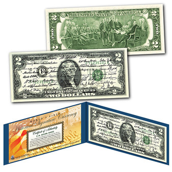 All 45 U.S. President Signatures Colorized $2 Bill