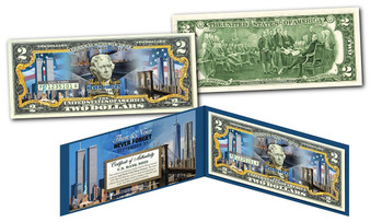 World Trade Center Then And Now Colorized Commemorative $2 Bill