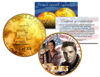 Limited Edition Colorized & 24K Gold Plated Ike Dollars - Numbered of 376