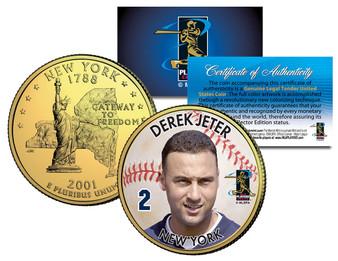 Derek Jeter Colorized & 24K Gold Plated New York State Quarter