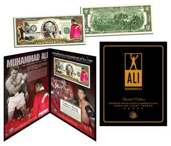 Muhammad Ali Custom Deluxe Folio Colorized $2 Bill