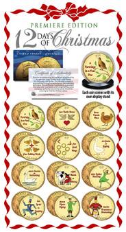Twelve Days Of Christmas Colorized JFK 12 Coin Set