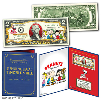 "Charlie Brown & Gang Peanuts Commemorative Colorized $2 Bill in 8"" x 10"" Collector's Display"