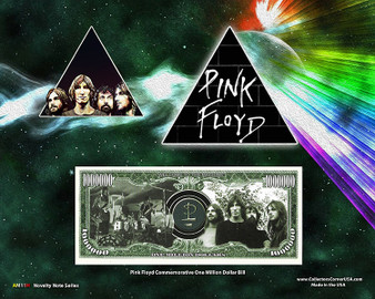 """Pink Floyd"" Novelty Million Dollar Bill Reverse Display on an 8"" x 10"" Display Card"
