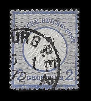 1872 #5 Small Shield 2 Groschen Cancelled