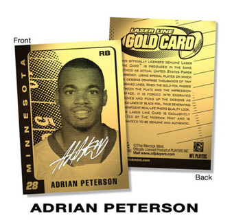 Adrian Peterson 2007 Hologram Signature 23K Gold Laser Line Card