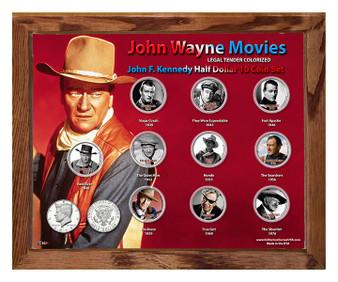"John Wayne Movies Colorized JFK Half Dollar 10 Coin Set in 8"" x 10"" Frame"