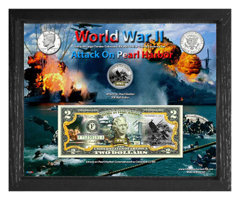 """World War II Attack On Pearl Harbor Colorized Coin & Currency Set in 8"""" x 10"""" Frame"""