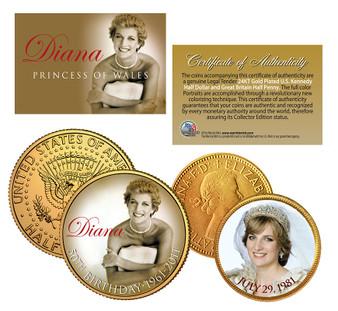 Princess Diana 50th Birthday & 30th Wedding Anniversary 24K Gold-Plated JFK Half Dollar and English Half Penny 2 Coin Set