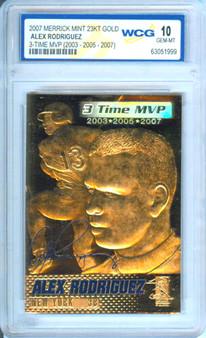 Alex Rogriguez 3x MVP 2007 23K Gold Sculptured Card Graded Gem Mint 10