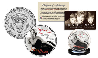 "Princess Diana In Memoriam ""Black Dress"" 1997-2017 20th Anniversary JFK Half Dollar"