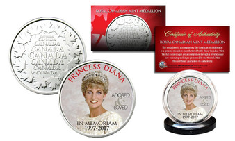 """Princess Diana In Memoriam """"Crown"""" 1997-2017 20th Anniversary Royal Canadian Mint Medallion"""