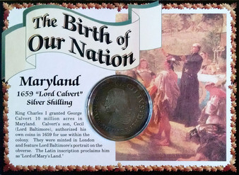 1659 Maryland Lord Calvert Silver Shilling Historical Colonial Replica Coin