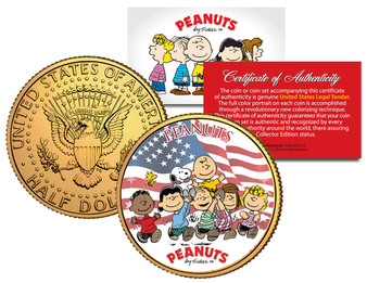 Peanuts Americana 24K Gold Plated JFK Half Dollar