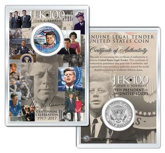 "JFK100 John F. Kennedy Centennial 2017 ""White House"" JFK Half Dollar Coin in 4x6 Lens Display"