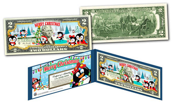 Merry Christmas Penguins Colorized $2 Bill