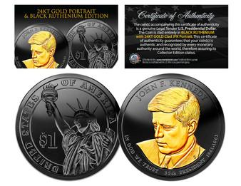 Black Ruthenium Clad John F. Kennedy Presidential Dollar with 24K Gold Portrait