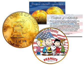 Peanuts Original Gang Serialized 24K Gold Plated Ike Dollar