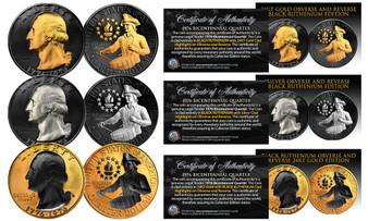 1976 Black Ruthenium Bicentennial Quarter Set of All 3 Versions