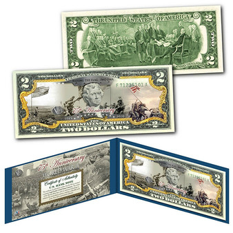 75th Anniversary End of World War II Colorized $2 Bill Raising the Flag in Iwo Jima