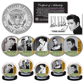ELVIS PRESLEY 1950's Early Hits JFK Half Dollar 5 Coin Set