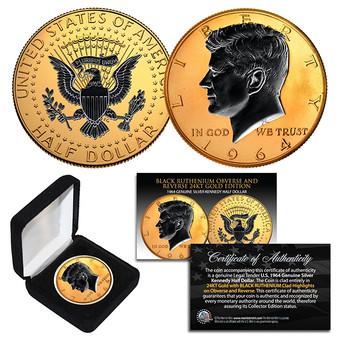1964 BU Silver JFK Half Dollar 2-Sided 24K Gold & Black Ruthenium Detail with Box