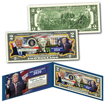 Donald Trump Keep America Great 2020 Official Commemorative Colorized $2 Bill
