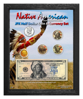 "Native American Indian Chief Colorized Coin & Currency Set in 8"" x 10"" Frame - Portrait"