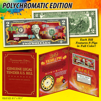 2019 Year Of The Pig Colorized $2 Bill Polychromatic 8 Pigs in Deluxe Folio