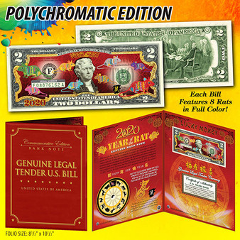 """2020 Year of the Rat Polychrome 8 Rats Colorized $2 Bill in 8"""" x 10"""" Deluxe Folio"""