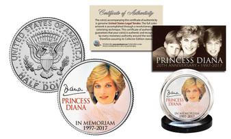 "Princess Diana In Memoriam ""Portrait"" 1997-2017 20th Anniversary JFK Half Dollar"