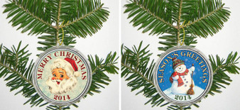 Merry Christmas 2014 2-Coin Set Santa And Snowman in Ornament Capsules