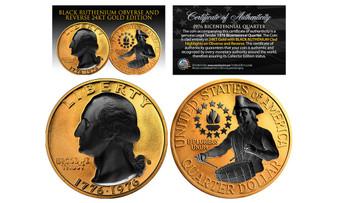 24K Gold Plated 1976 Bicentennial Quarter with Black Ruthenium Highlights