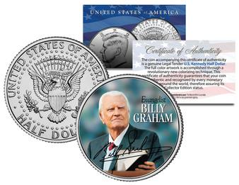 Rev. Billy Graham Evangelical Preacher Colorized JFK Half Dollar