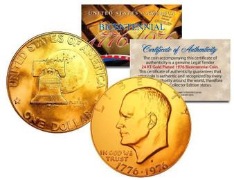 Bicentennial 24K Gold Plated 1976 Eisenhower Dollar with COA & Air-Tite