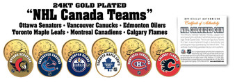 NHL Canada Teams 24K Gold-Plated & Colorized