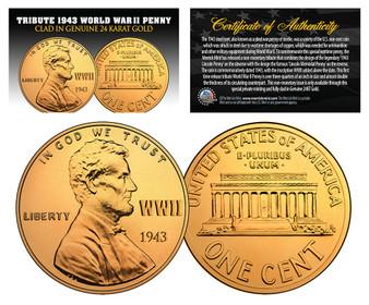 Lot of 3 1943 TRIBUTE Steelie WWII Steel Pennies Clad in 24K Gold