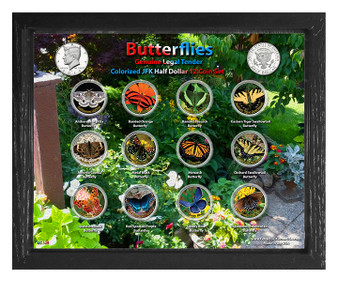 "Butterflies Colorized JFK Half Dollar 12 Coin Set in 8"" x 10"" Frame"