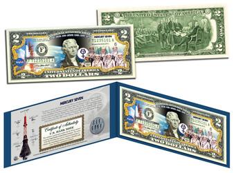 Mercury Seven Astronauts Commemorative Colorized $2 Bill