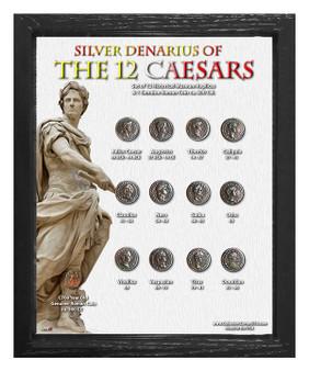 """Silver Denarius of the 12 Caesars Historical Replica Set in 8"""" x 10"""" Frame - V"""